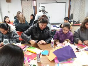 Woman and child crafting at 4H event