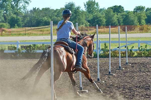Girl riding horse through posts