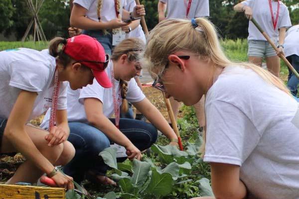 kids planting a garden