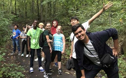 youth hiking in the woods