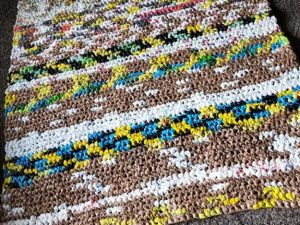 plarn mat laid out on floor